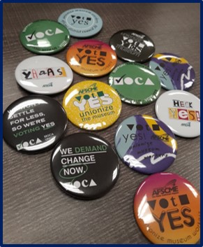 Buttons from the MOCA organizing drive